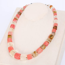 Blue Rainbow Natural Stone Necklace Choker Men Magnesite Square Diamond Stone Gemstone Power Crystal Male Fine Jewelry Gift NEW