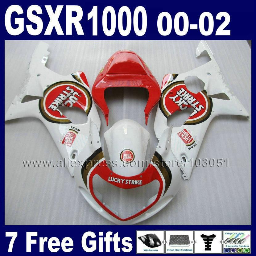 OEM Injection made Fairings for GSXR 1000 K2 SUZUKI GSX R1000 01 00 02 GSXR1000 2002 2001 2000 red white lucky strike fairing ki