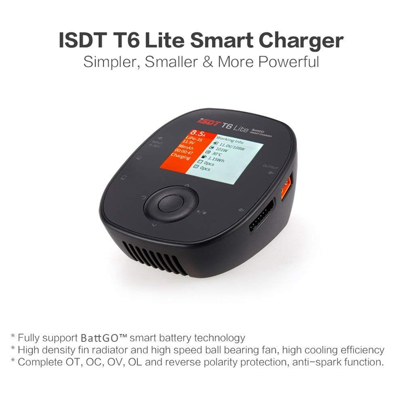 ISDT T6 Lite 600W 25A Smart Battery Balance Charger For 1-6S Lipo Battery