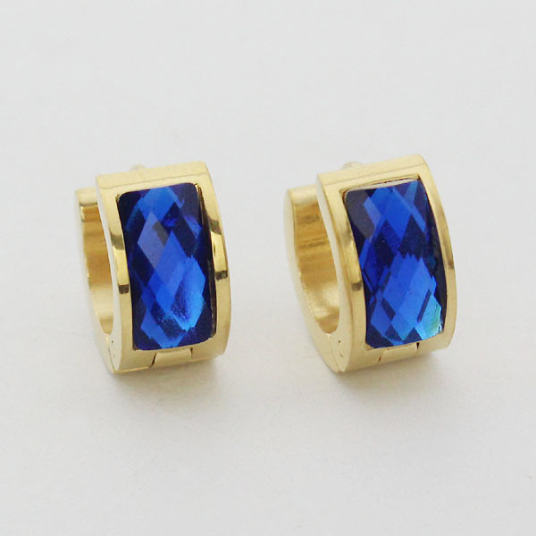 flower womans steel earrings stainless studs blue sapphire cz mens product