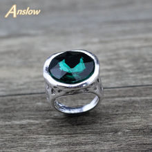 Anslow Brand Vintage Punk Rock Style Antique Silver Plated Couple Men's Women Finger Rings With Crystal Accessories LOW0023AR(China)