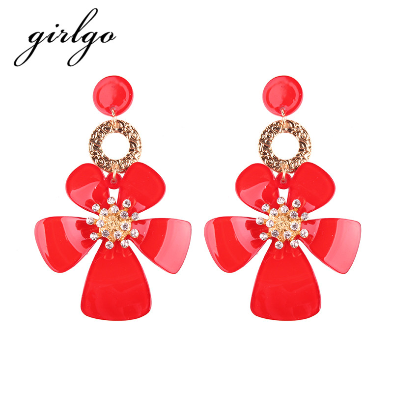 Girlgo Fashion Pinky Color Flower Resin Dangle Earring For Women Hot Sale Trendy Geometric Statement Drop Long Earrings Jewelry