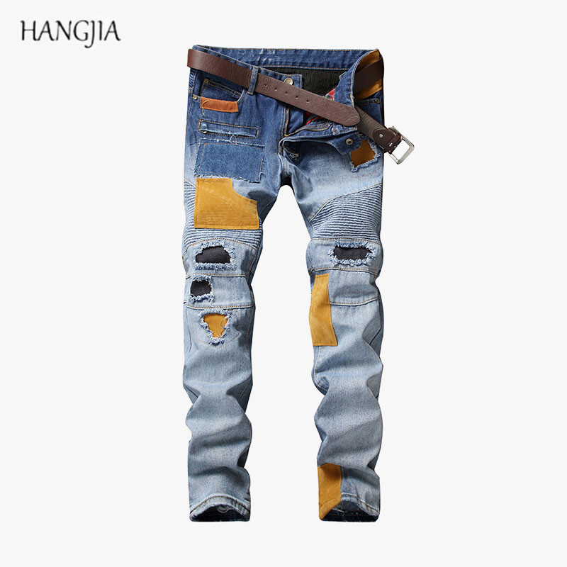 Distressed Hole Patch Jeans 2018 Mens Spliced Pleated Denim Pants Jogger Street All Seasons Youth Hip-Hop Straight Jean