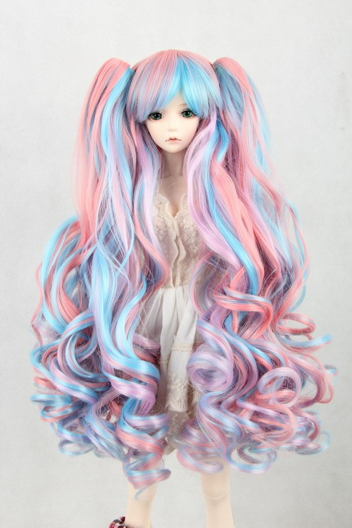 luodoll BJD doll wig can be multi - color gradient double hair tail volume cosplay wigs wholesale FBE139 free shipping cosplay hair wig v miku markkaa black double horsetail cosplay wig 042b hot sale