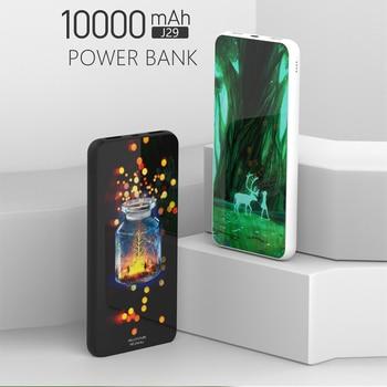 Voth 10000 mAh Power Bank magic glass back Portable 2 USB LCD Power Bank battery power bank 10000mah 2A Phone External Battery usb battery bank charger