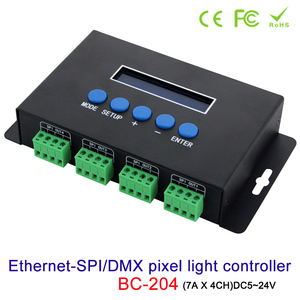 Image 2 - Artnet Ethernet כדי SPI/DMX פיקסל led אור בקר BC 204 DC5V ~ 24V פלט הנוכחי 7Ax4CH; מפעל תוכנה עם V1/V2 גרסה