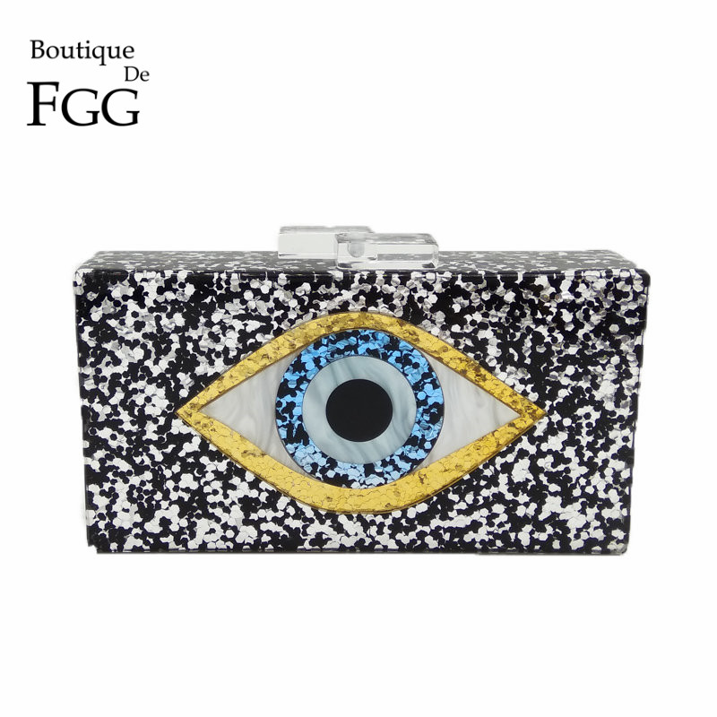 Boutique De FGG Devil Eyes Glitter Women Acrylic Box Clutch Evening Bags Ladies Party Prom Chain Shoulder Bag Cocktail Handbags big silver glitter cherise resin clutch bag acrylic glitter clutch bags fashion women flap shoulder messenger acrylic box clutch