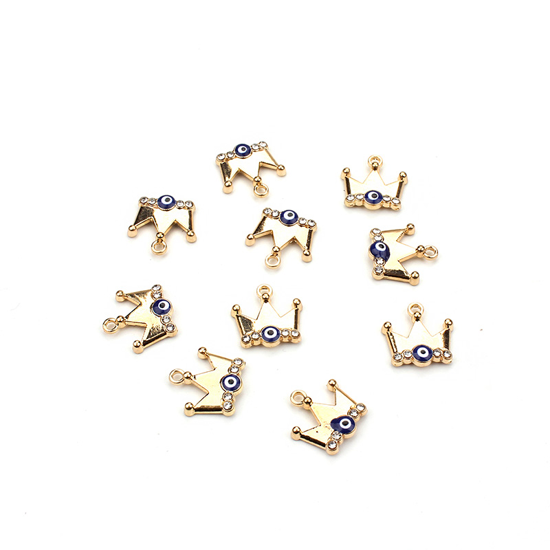 10pcs/lot 13*15mm Gold Crown Blue Evil Eye Jewelry Connectors Lucky Jewelry Findings Components For Bracelet Necklace