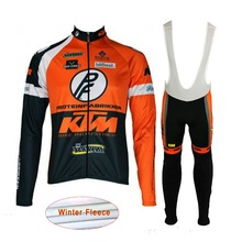 2017 KTM Pro Winter Cycling Jersey Long Sleeve Set cycle clothing Thermal fleece ropa ciclismo hombre bike clothes Sportwear L5