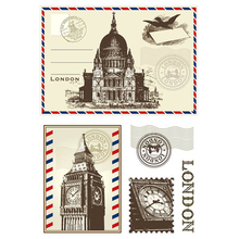 London Postcard Letters Clear Rubber Stamps Silicone Seals for Scrapbooking Photo Album Embossing Cards DIY Paper Decoration