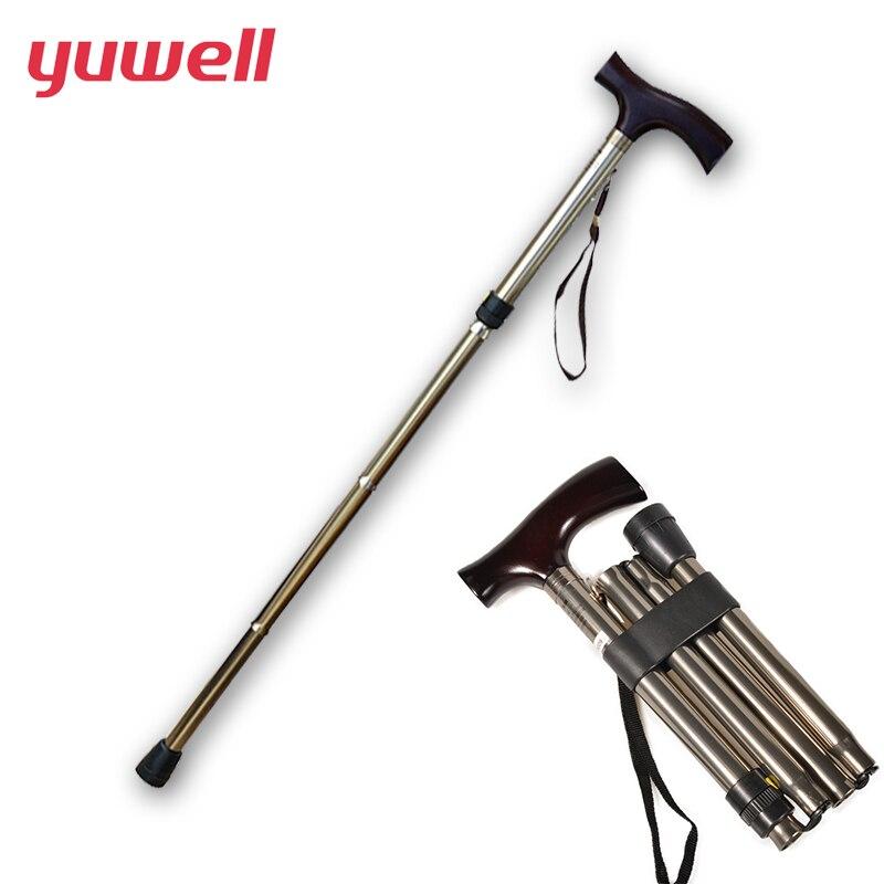 yuwell Adjustable Foldable Crutch Ultra-Light Aluminum Alpenstock Walking Trekking Hiking Anti-Shock Anti-Skid Stick Cane Tools