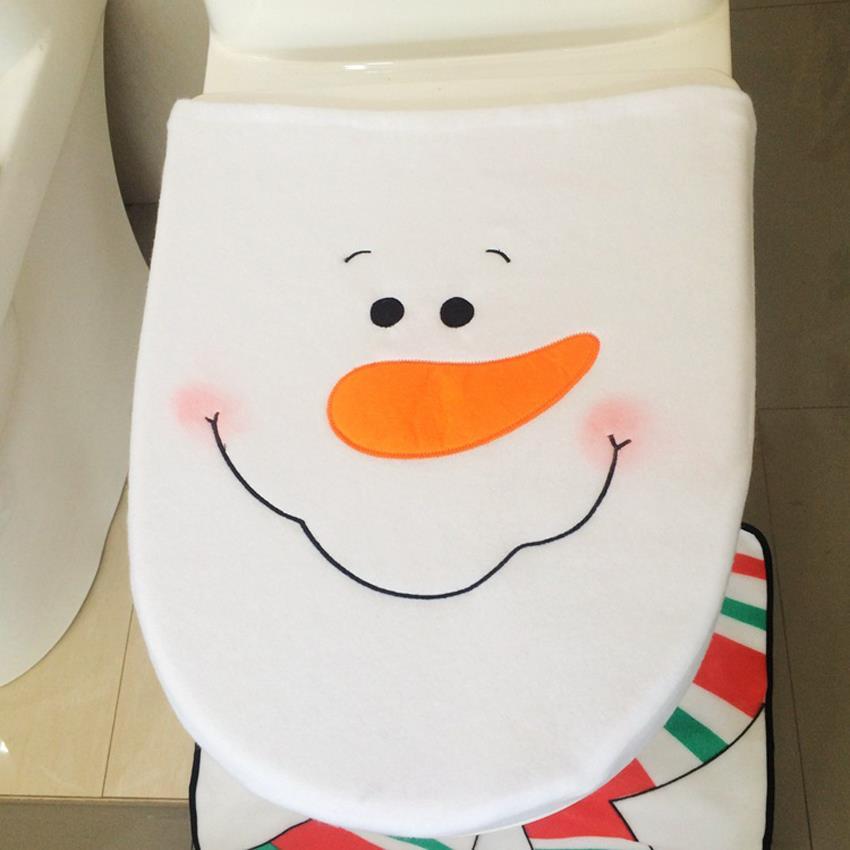 towel for rug fancy pin natal bathroom toilet decorations santa and christmas cover set sets claus seat cap snowman navidad mats radiator contour