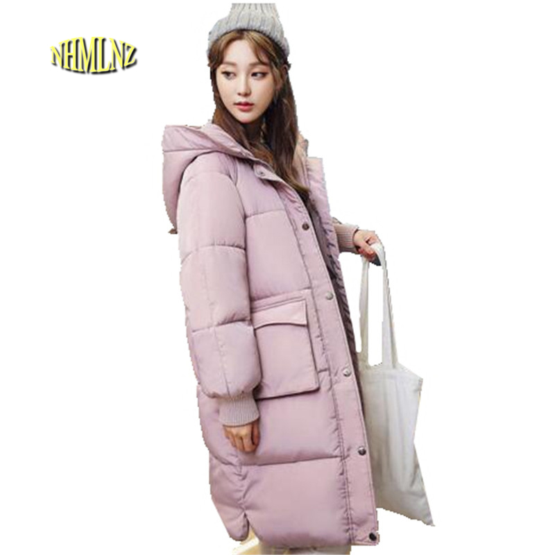 2017 Winter Women High quality Coat New Leisure Slim Long sleeve Pure color Thick Warm Hooded Large size Women Jacket S-XXL OK82 2017 new korean winter women coat elegant pure color thick warm hooded cotton jacket high quality large size women coat parkas