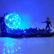 лучшая цена Dragon Ball Z Action Figure Vegeta Super Saiyan Power Up Led Lighting Toy Dragon Ball Super Evil Vegeta Battle Ver. Doll DIY178