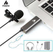 MAONO USB Lavalier-mikrofon Kondensator Revers Mic Hände Freies Hemd Kragen Clip-on Mikrofon für Computer Youtube Skype Laptop
