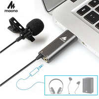 MAONO USB Lavalier Microphone Condenser Lapel Mic Hands Free Shirt Collar Clip-on Microphone for Computer Youtube Skype Laptop