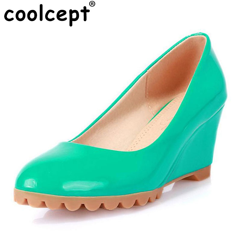 Coolcept Round Toe Slip On Shoes 2016 Hot Selling Fashion Ladies Casual Wedge Heel Autumn Comfortable Women Shoes Size 34-40 vinlle 2017 women pumps college style square med heel vintage slip on pu leather shoes casual round toe girl shoes size 34 40