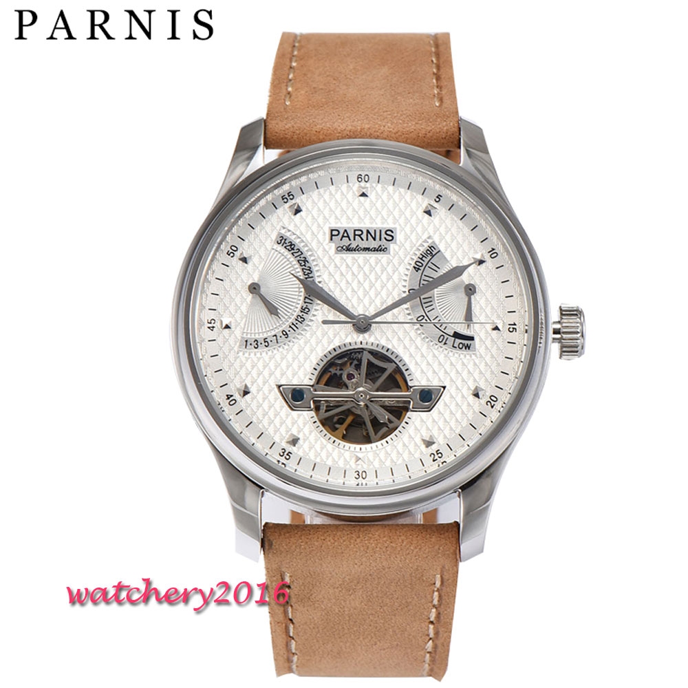 43mm Automatic Parnis Casual Automatic Mechanical Watches for Men s ST Automatic Power Reserve Tourbillon Silver