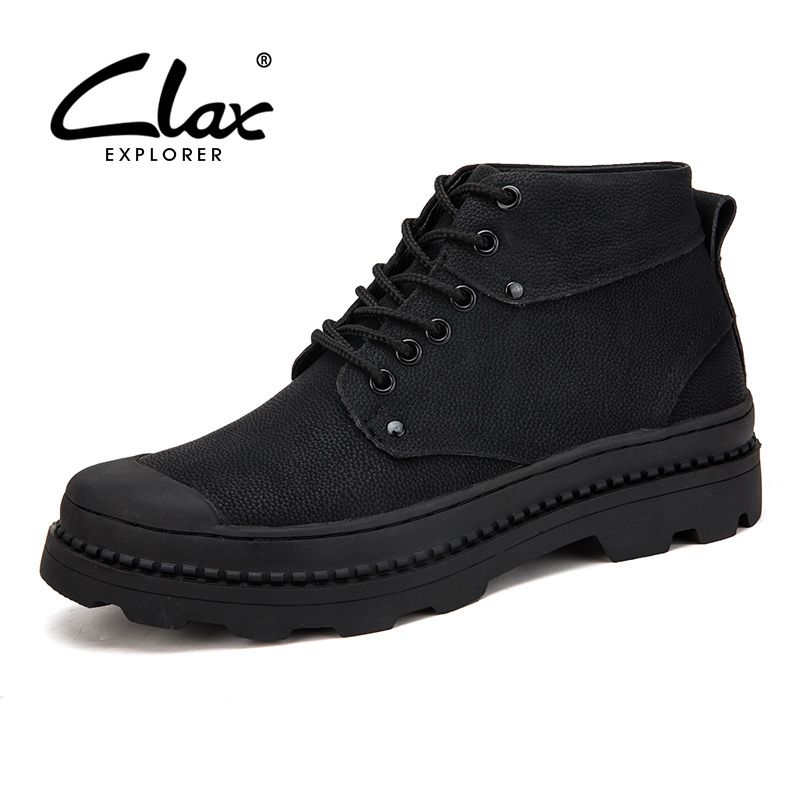 цена CLAX Men Winter Boots Leather Work Boot Snow Shoes Fur Warm Male 2018 Autumn Casual Ankle Boot Safety Shoe Toe protection Soft