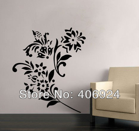 removable vinyl wall stickers flower wall art stickers drawing room wall decor nursery wall art. Black Bedroom Furniture Sets. Home Design Ideas