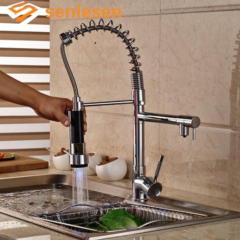 Wholesale And Retail LED Color Changing Polished Chrome Brass Kitchen Faucet Spring Swivel Spout Vessel Sink Mixer Tap polished chrome brass vessel sink mixer tap kitchen faucet spring faucet dual swivel spout 8 cover plate