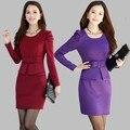 Женщины Работают Костюм Dress S-3XL Плюс Размер Формальные Офис Баски Dress Длинным Рукавом Офис Леди Бизнес Карандаш Dress
