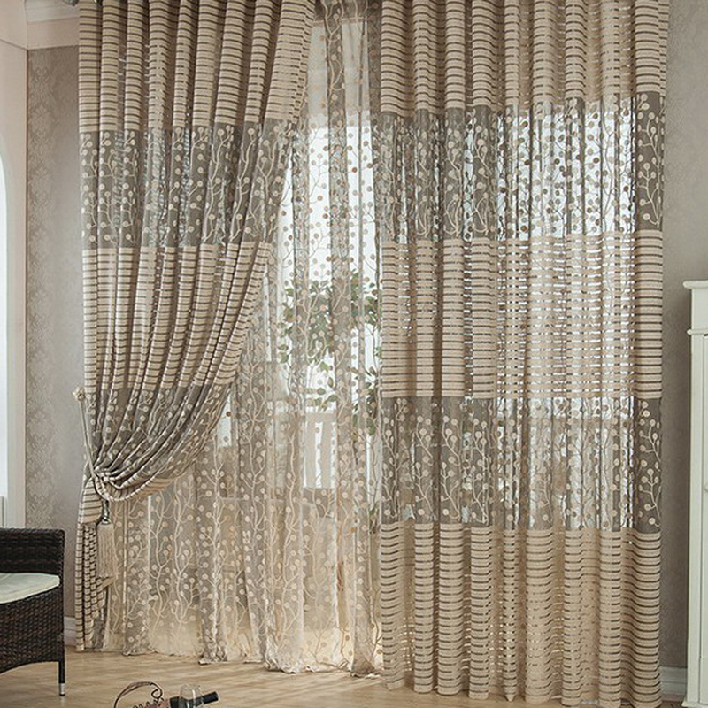 US $8.51  100 *200CM Leaves Printed Voile Curtains Home Decoration Window  Curtain Living Room Rod Pocket Process Tulle Drapes P30-in Curtains from ...
