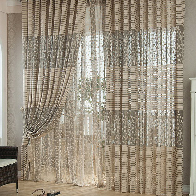 window curtains living room leather sofas 100 200cm leaves printed voile home decoration curtain rod pocket process