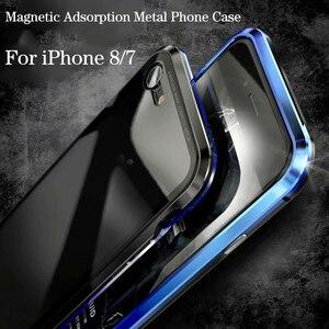 Image 3 - Luxus Magnetische Adsorption Fall für iphone 7 8 Ultra Magnet Metall Klar Gehärtetem Glas Magneto Telefon Abdeckung Für iPhone 7 8 plus