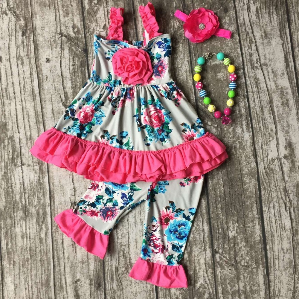 baby girls Summer spring clothing girls hot pink ruffle dress girls boutique summer floral outfits with necklace and headband football clothes tutus touch downs fall baby girls boutique skirt ruffle hot pink long sleeves bow heart with matching accessory