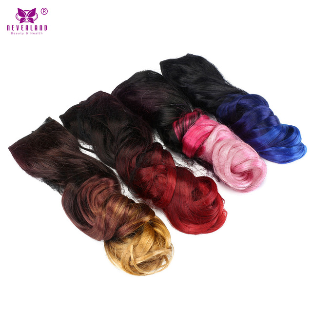 Neverland 20'' 50cm One Piece Clip in Hair Extensions Synthetic Wavy Rainbow Ombre Heat Resistant Fake Hair Hairpiece