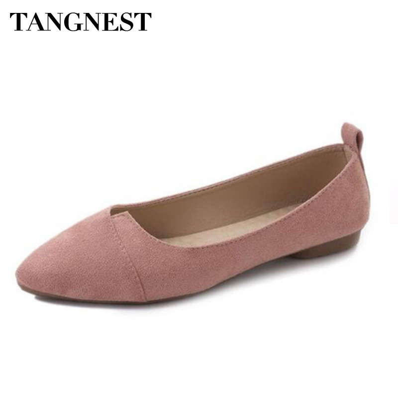 Tangnest New Women's Ballet Flats Shallow Fashion Pointed Toe PU Leather Solid Casual Flats For Women Spring Soft Flat Shoes odetina 2017 new designer lace up ballerina flats fashion women spring pointed toe shoes ladies cross straps soft flats non slip