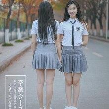 Bloomlove JK Student Class Uniforms Short  Sleeve Shirt+Grey Skirt School Girl Costume Sailor Uniform OY-G4231