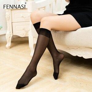 FENNASI 2 Pairs Knee High Socks Long Female Transparent White Stockings Sexy Women Varicose Nylon Black Stockings