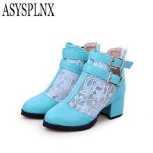 ASYSPLNXสีขาวสีม่วงสีฟ้าโลหะหัวเข็มขัดหวานแฟชั่นสแควร์ส้นรองเท้าผู้หญิงรองเท้าแตะ,ฤดูร้อนแคชชวลหญิงรองเท้าผู้หญิง