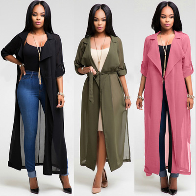 Fashion Long Sleeve Chiffon Cardigan Women Turn Down Collar Long Outerwear Coats Ladies Plus Size Slim Coat With Belt