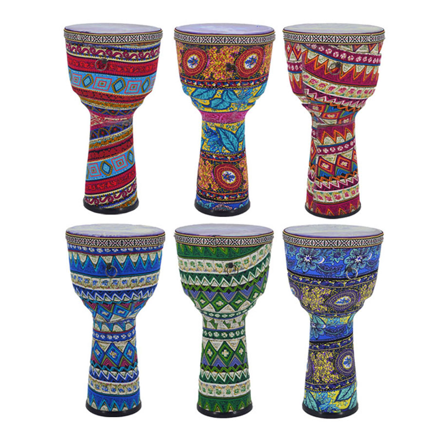 8 Inch Beautiful African Djembe Drum Colorful Cloth Art ABS Barrel PVC Skin for Children Hand