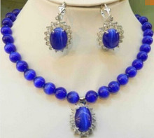 "free shipping Blue Mexican Opal Round Beads Gems Pendant Necklace Earring Set 17""(China)"