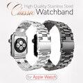 Claasic hebilla correas de reloj con correa de reloj de correa de acero inoxidable de lujo adaptador para apple watch serie 1 serie 2 iwatch