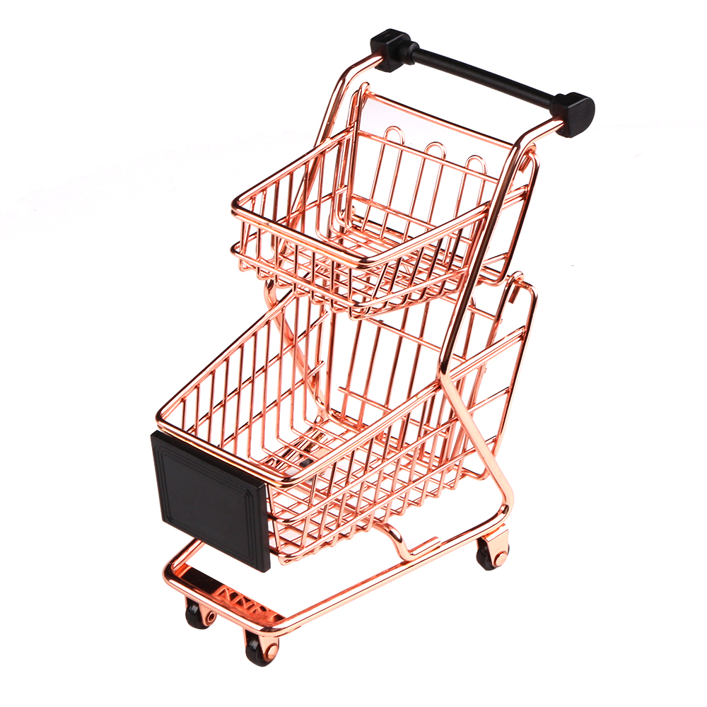 ee7943408 Creative Mini Double Layers Shopping Cart Model Wrought Iron Supermarket  Trolley Vogue Metal Rose Gold Storage Basket