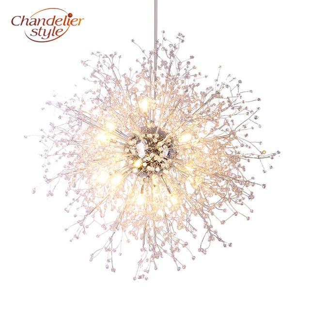 Lustre de cristal moderna iluminação globo lustres luz redonda acrílico pendurado lâmpada luminárias para casa restaurante decoração
