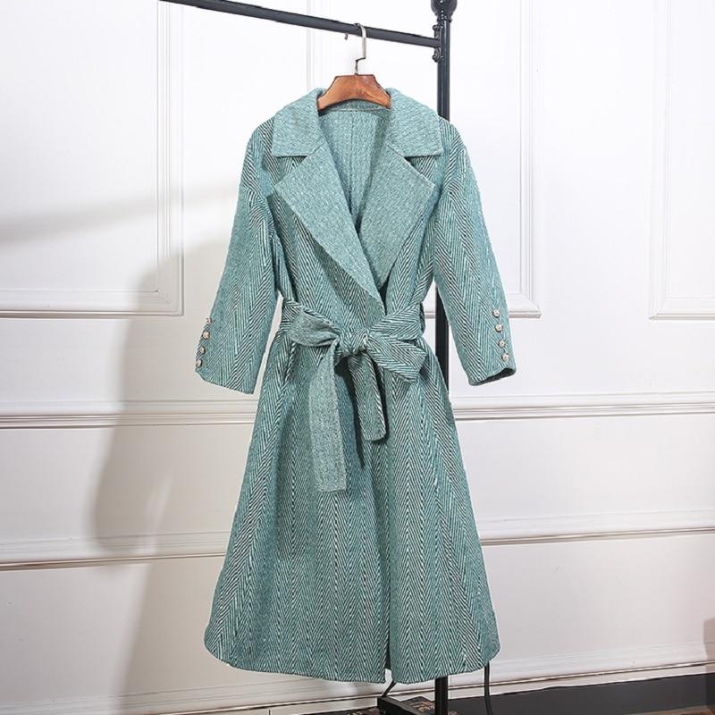 Face D'hiver Outwear Chaud Gris Taille Ceinture Femmes À Laine 2018 Kaki Cachemire amp; La khaki green Des Vert Manteaux 100 Plus Manteau Gray Double aq7T0