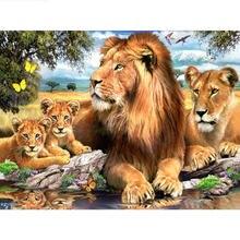5d diy Алмазная картина льва семейный лес полная квадратная/круглая