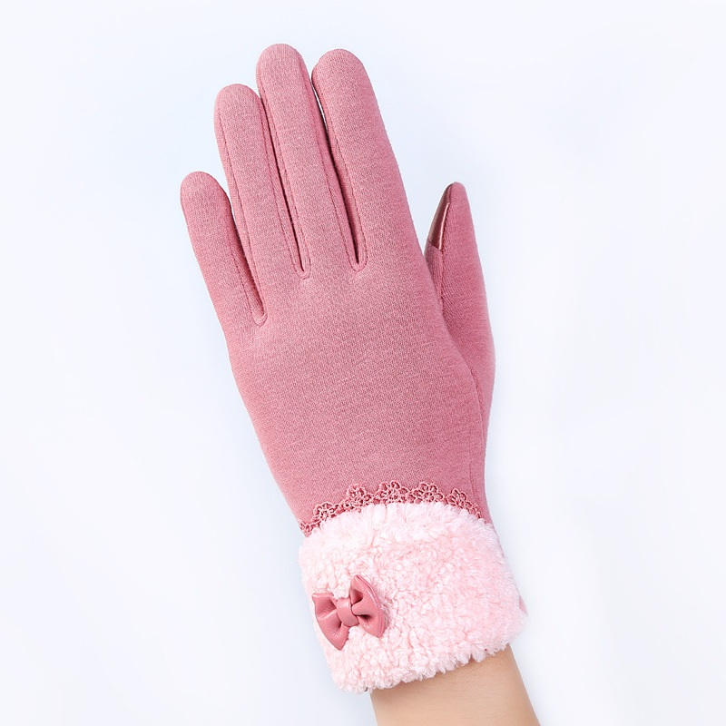 New Arrival Elegant Warm Mittens Fashion Female Winter Warm Women Gloves Screen Sensor Fittness With Leather Bow Lace