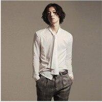 S 5XL HOT 2016 New Personality Men Korean Slim British Hairstylist Nightclub Shirt Long Sleeved Shirt