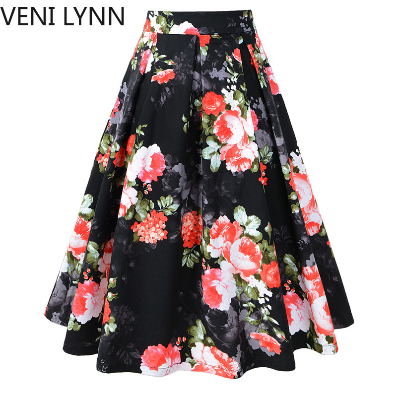 VENI LYNN 2019 damas Primavera Verano Vintage plisada faldas falda de cintura alta-in Faldas from Ropa de mujer on AliExpress - 11.11_Double 11_Singles' Day 1