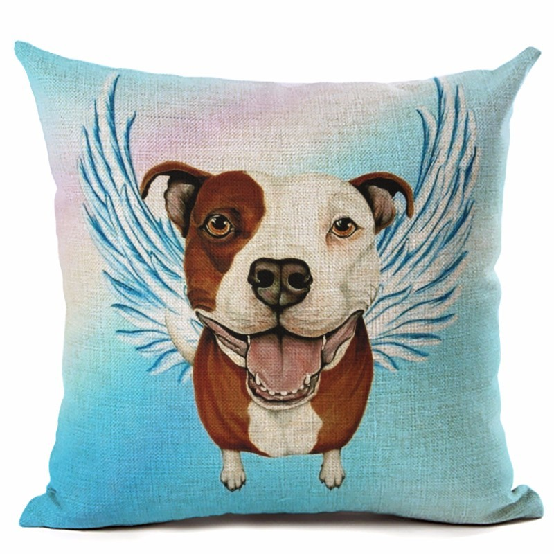 Animal Style Cute DOG Angel Wings Series Linen Cotton Square Home Decor Homeware Throw Pillow Cushion Cojines Almofadas