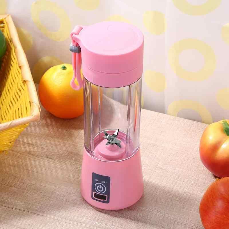 380 مللي Usb قابلة للشحن خلاط خلاط 6 شفرات عصارة زجاجة كوب عصير الحمضيات الليمون الخضروات الفاكهة عصير العصارات موسعات ثقوب