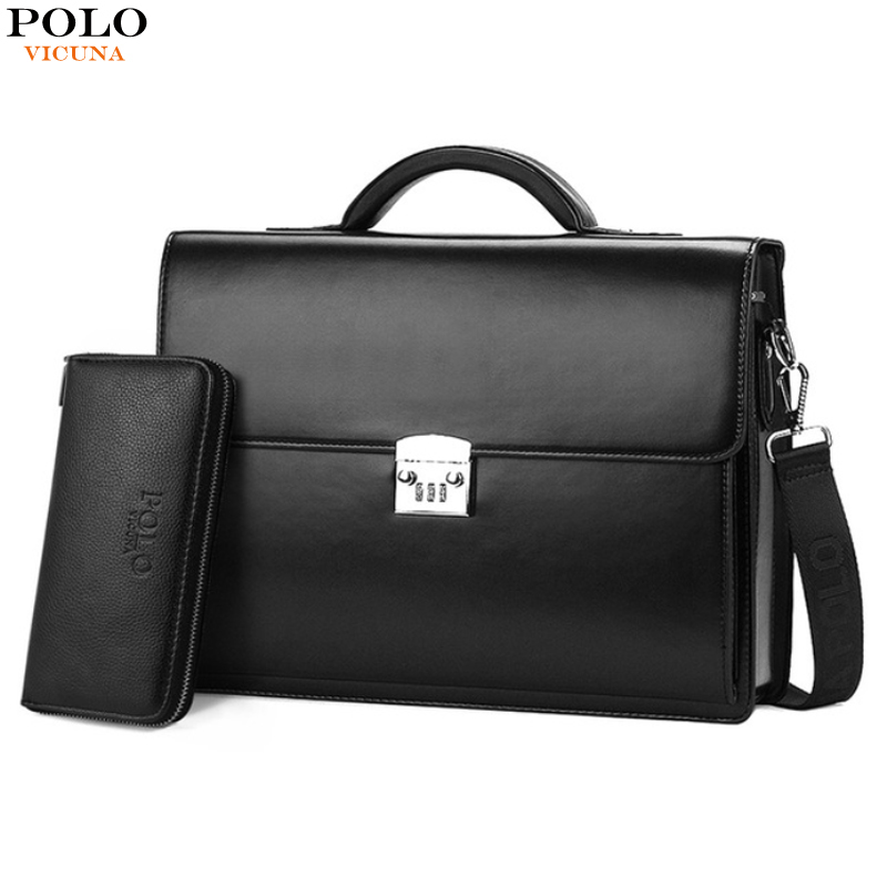 0db2e3e510 VICUNA POLO Luxury Famous Brand Password Lock Leather Bag Men Briefcase  Business Office Bag Leather maleta