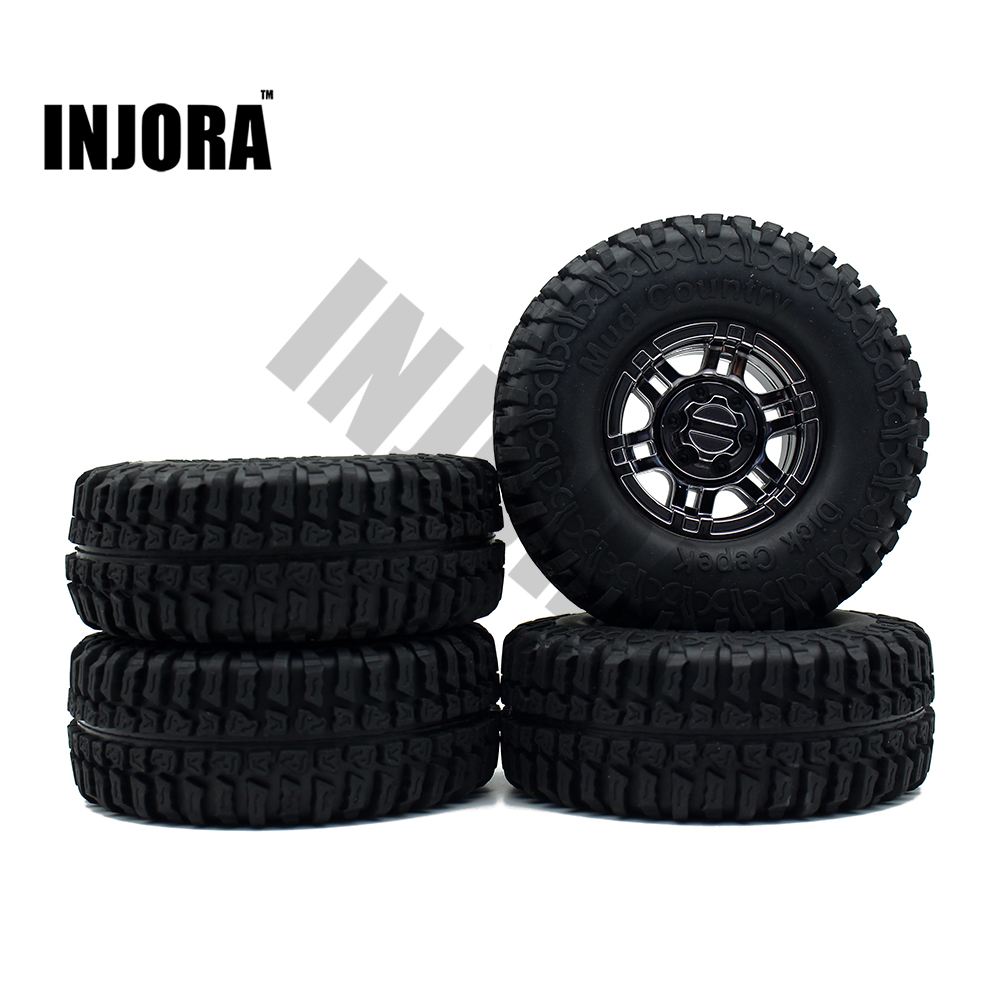 1:10 RC Rock Crawler 1.9 Inch Rubber Tires & Electroplating Beadlock Wheel Rim Set for Axial SCX10 Tamiya CC01 RC4WD  D90 4pcs rc crawler truck 1 9 inch rubber tires